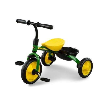 John Deere Steel Trike, 3-Wheel Kids Tricycle With Hauling Basket, Green + Yellow John Deere Tricycle