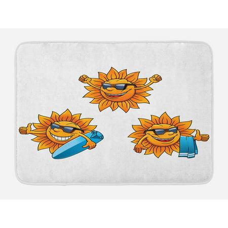 Cartoon Bath Mat, Surf Sun Characters Wearing Shades and Surfboards Fun Hippie Summer Kids Design, Non-Slip Plush Mat Bathroom Kitchen Laundry Room Decor, 29.5 X 17.5 Inches, Orange White, (Cartoon Character With Shades)