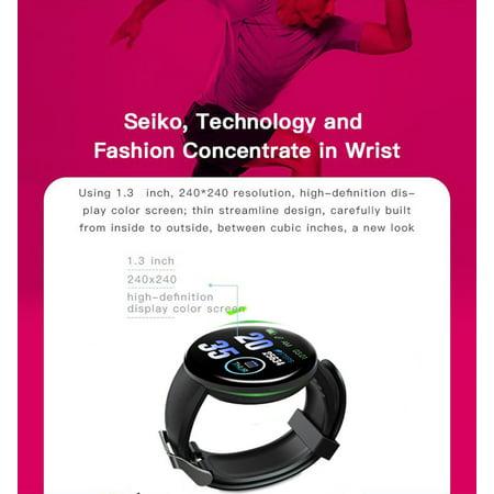 D18 Smart Bracelet Fitness Tracker Heart Rate Blood Pressure Color Screen Waterproof Sport Wristband Smart Watch red - image 1 of 8