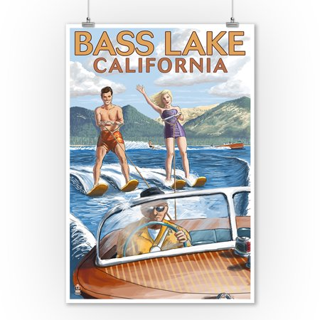 Bass Lake, California - Water Skiing - Lantern Press Artwork (9x12 Art Print, Wall Decor Travel (Best Lakes In California For Jet Skiing)