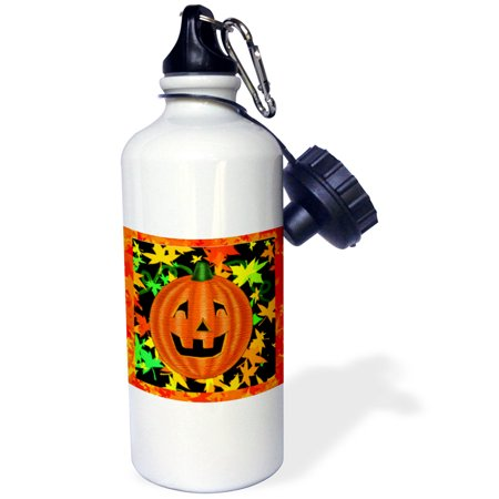 3dRose Halloween Jack O Lantern pumpkin with colorful autumn leaves, Sports Water Bottle, 21oz - Sports Halloween Pumpkins