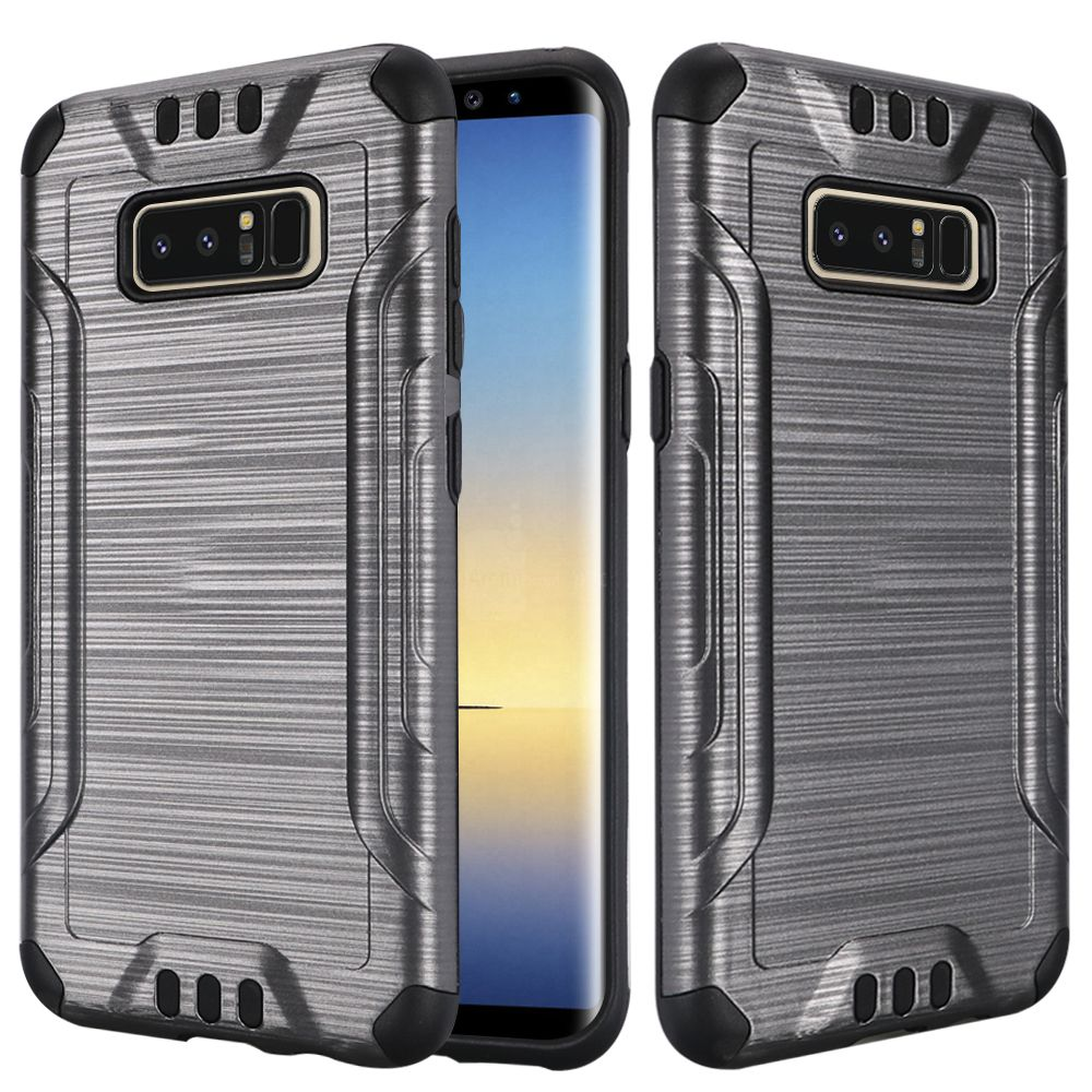Kaleidio Case For Samsung Galaxy Note 8 [Combat Armor] Protective Brushed Metallic [Shockproof] Impact Hybrid Cover w/ Overbrawn Prying Tool [Grey/Black]