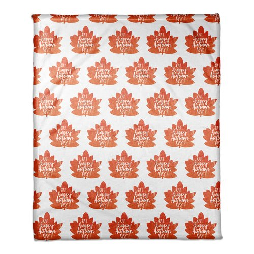 The Holiday Aisle Fall Leaves Pattern Coral Fleece Throw