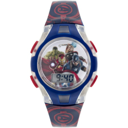 Boy's Blue and Red Flashing Lights LCD Watch