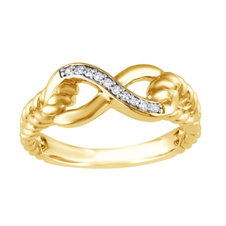 Gold Diamond Rope Ring (Round Cut White Natural Diamond Accent Infinity Rope Ring in 14k Yellow)