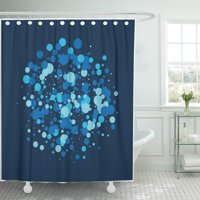 PKNMT Winter Snowfall Confetti White Falling Snow Christmas New Year Holidays Festive Bathroom Shower Curtains 60x72 inch