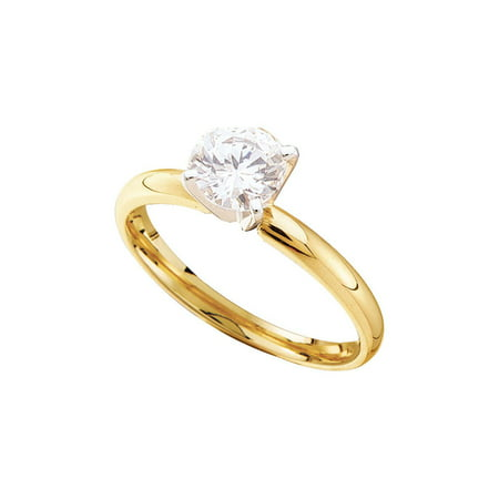 Yellow Round Diamond Solitaire (14kt Yellow Gold Womens Round Diamond Solitaire Bridal Wedding Engagement Ring 1/4 Cttw)