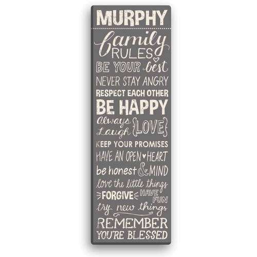 "Personalized Family Rules 9"" x 27"" Canvas Available In Multiple Colors"