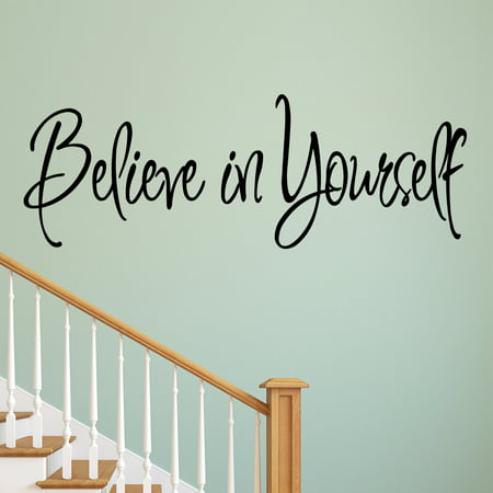 VWAQ Believe in Yourself Decal Wall Quote Sayings Stickers Quotes Vinyl Inspirational Wall Decals Words Letters by - Vinyl Wall Words