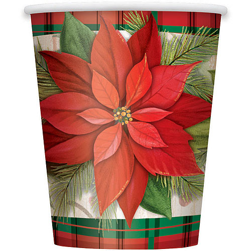 9 oz Poinsettia Plaid Holiday Cups, 8-Count