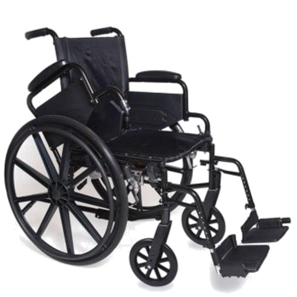 "18"" Self Transport Folding Wheelchair wDetachable Desk Armrests, Swing Away Foot Rests"