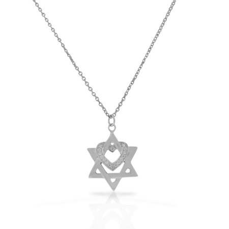 Love Star Of David Pendant - 925 Sterling Silver White Clear CZ Jewish Star of David Love Heart Pendant Necklace