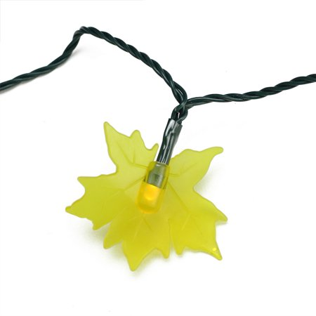 Set of 10 Yellow Maple Leaf Autumn Fall LED Novelty Thanksgiving Lights - Green Wire