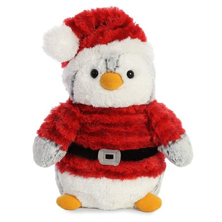 Pom Pom Penguin Santa 9 inch - Stuffed Animal by Aurora Plush (99009) (Pom Pom Dogs)