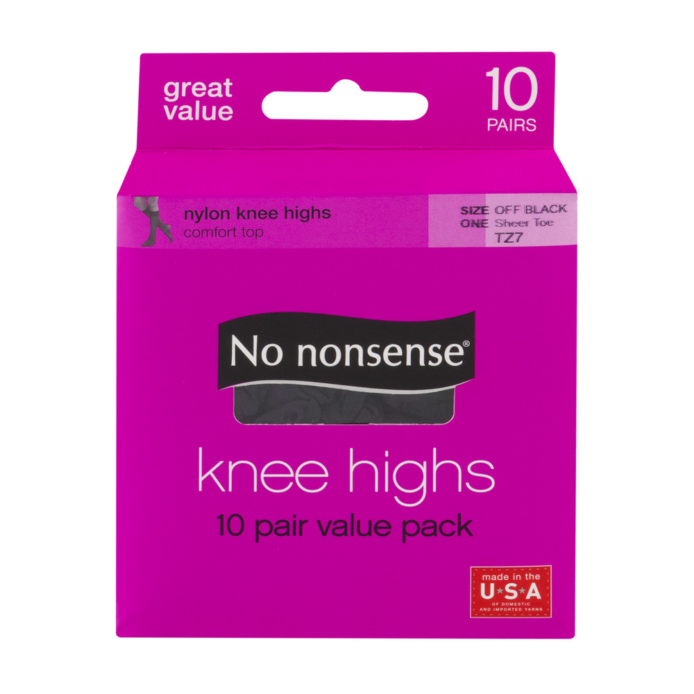 Size One Midnight Black-10 Pair No Nonsense Knee Highs Sheer Toe