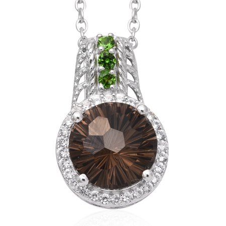 Chain Pendant Necklace 925 Sterling Silver Smoky Quartz Chrome Diopside Gift Jewelry for Women Size