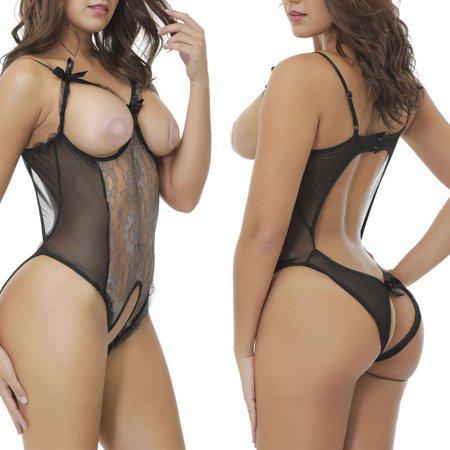 Women's Sexy Lingerie Babydoll Sleepwear Underwear Lace BLACK Dress set - Babydoll Lingerie