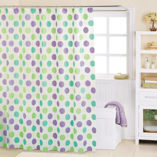 Mainstays A Round PEVA Shower Curtain, Blue and Green