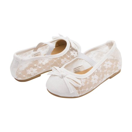 Sara Z Toddler Girls Lace Openwork Slip On Ballet Flat with Elastic Arch & Bow White 11-12 (Ballet Flats Toddlers)
