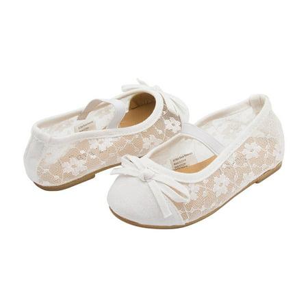 Sara Z Toddler Girls Lace Openwork Slip On Ballet Flat with Elastic Arch & Bow White 11-12 - Girls Ballet Flats White