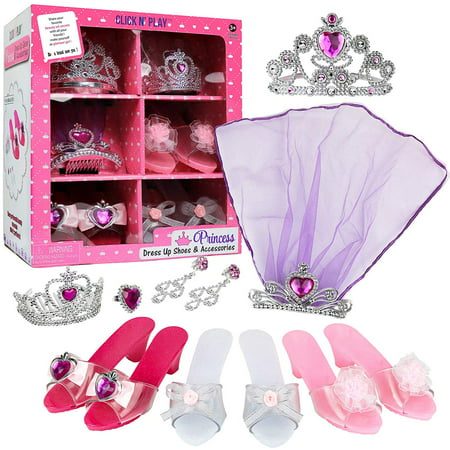 Kids Play Dress Up Clothes (Click N' Play Girls Princess Dress Up Set, High Heels, Earrings, Ring and)