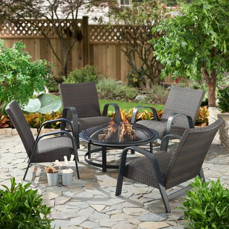 Mainstays Layken Steel and All Weather Wicker Fire Pit Patio Set - Seats 4 All Weather Wicker Patio Set