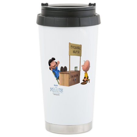 CafePress - Charlie Brown And Lucy Stainless Steel Travel Mug - Stainless Steel Travel Mug, Insulated 16 oz. Coffee Tumbler Cleveland Browns Travel Mug
