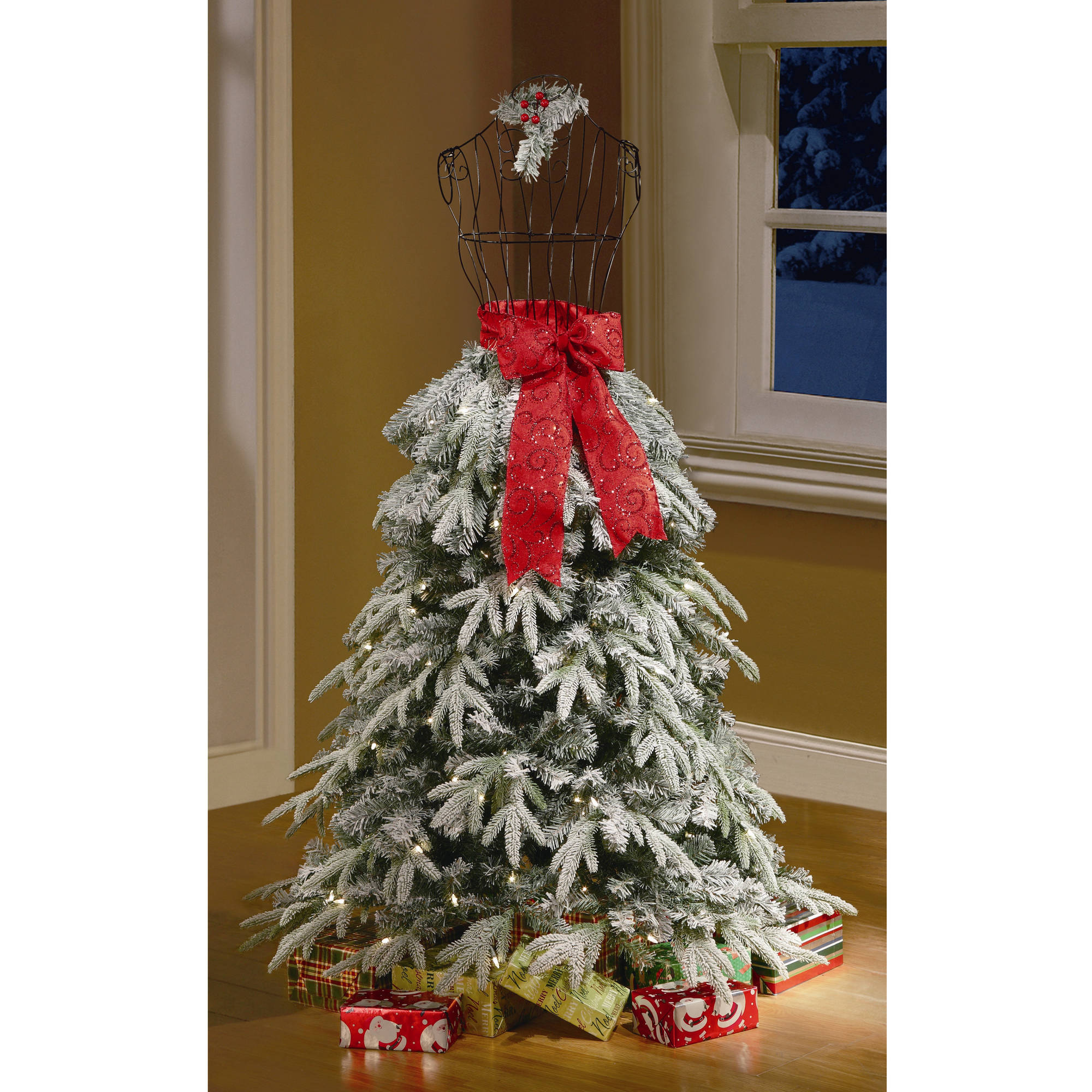 Holiday Time Artificial Christmas Trees 5u0027 Flocked Dress Form Artificial  Tree, Clear Lights