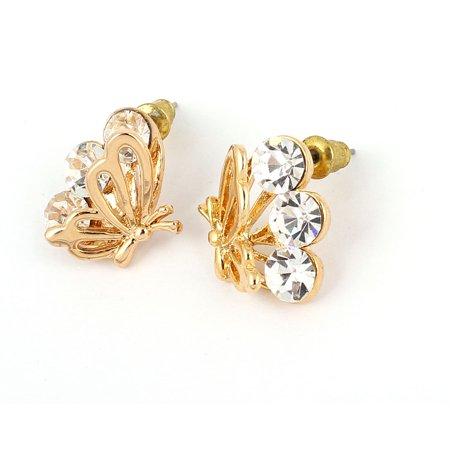Lady Butterfly Shaped Rhinestone Inlaid Eardrop Ear Stud Earrings Pair (Butterfly Rhinestone Earrings)
