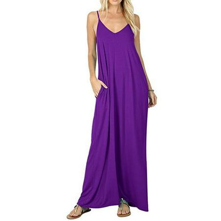 Women's Casual Loose Long Maxi Dress Spaghetti Strap Dress with Pockets
