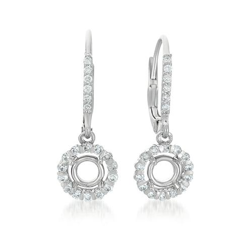 14K White Gold 0.54cttw Round Diamond Earring