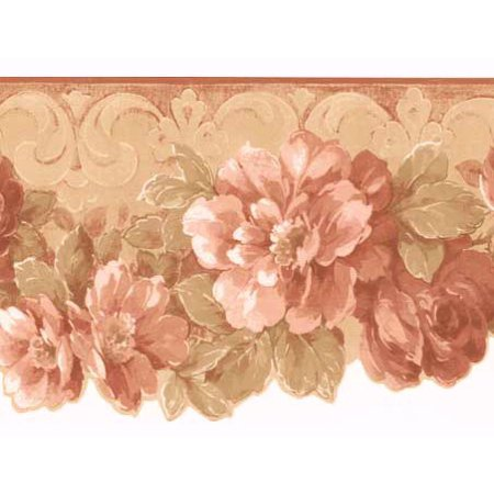 877057 Traditional Trailing Floral Die-cut Wallcovering Border  (Die Cut Wall Border)