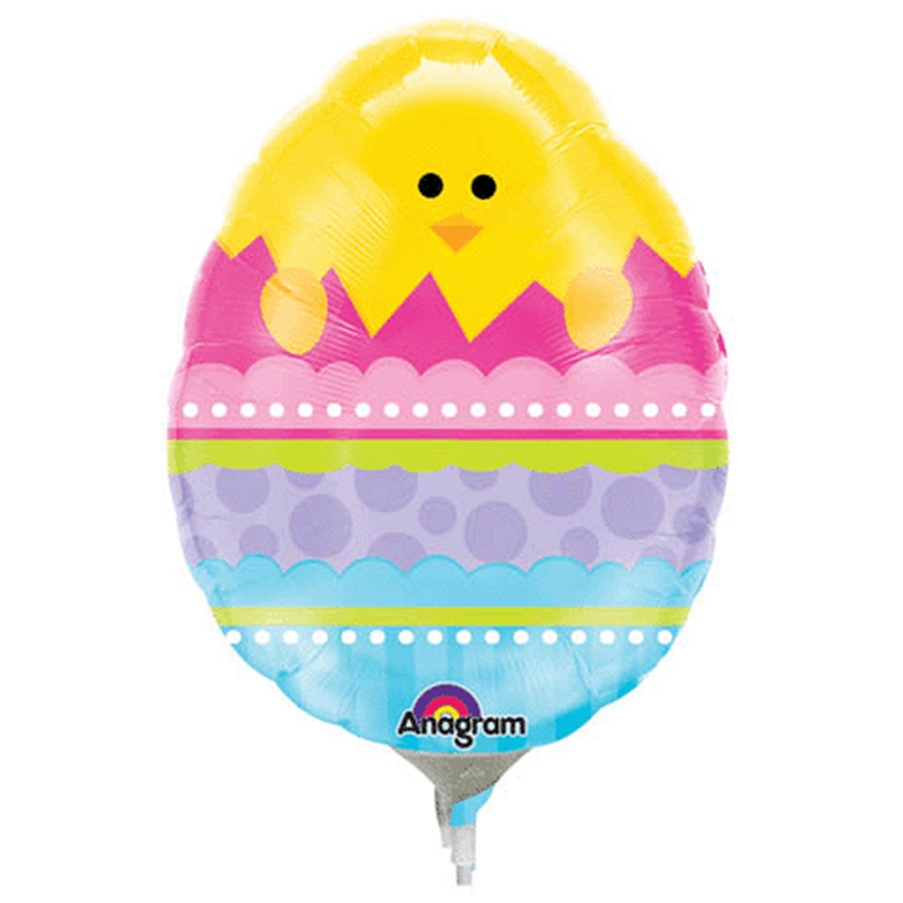 "Fun Colorful Easter Egg Shaped Mini Chick 10"" Mylar Balloon"