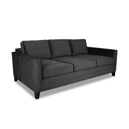 Plush Deep Noah Velvet Sofa Charcoal