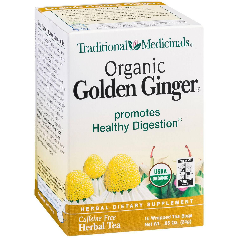 Traditional Medicinals Organic Golden Ginger Herbal Supplement Tea, 16 count, .85 oz, (Pack of 3)