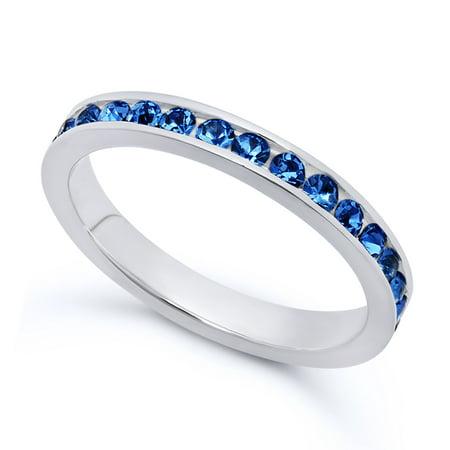 Sapphire Italian - Sterling Silver Italian Crafted 3mm Eternity Birthstone CZ Wedding Engagement Band Ring + Polishing Cloth