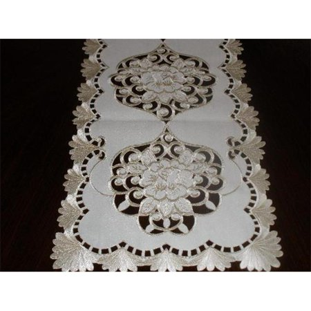 Ivory Table Runner (Tapestry Trading LY0045-1454 13 x 54 in. Embroidered Rose Cutwork Table Runner,)
