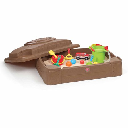 Step2 Play and Store Kids Sandbox with Cover And Four Molded Seats