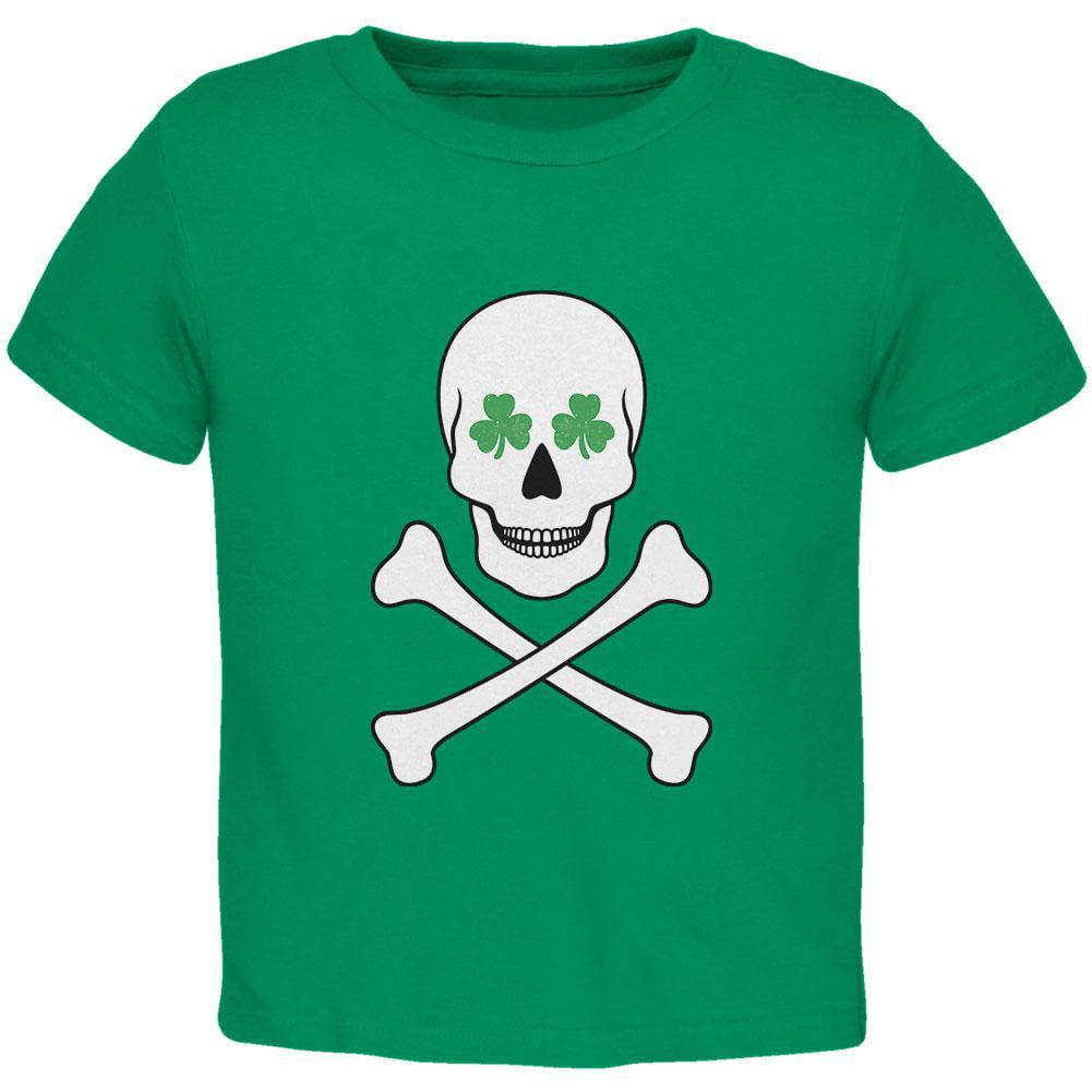 St. Patrick's Day - Skull & Crossbones Shamrock Eyes Kelly Green Toddler T-Shirt