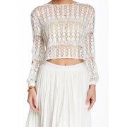 Sugarlips NEW White Women's Size Medium M Cropped Crochet Knit Top