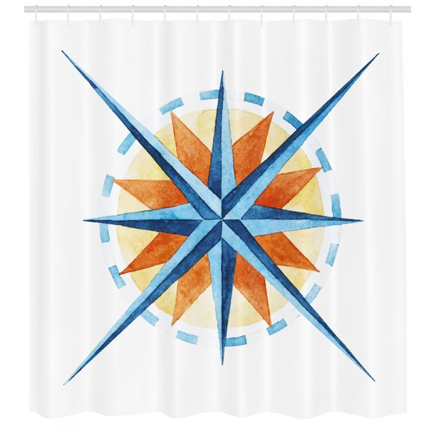 Compass Shower Curtain, Watercolor Directions North South ...