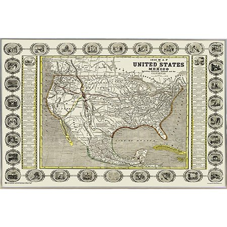 United States Map Picture Frame.Frame Usa Map Of The United States And Mexico 1846 Silver Metal