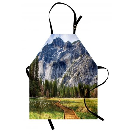 Yosemite Apron North Dome as Seen From the Valley With Wooden Walkway Yosemite National Park, Unisex Kitchen Bib Apron with Adjustable Neck for Cooking Baking Gardening, Green Charcoal, by Ambesonne