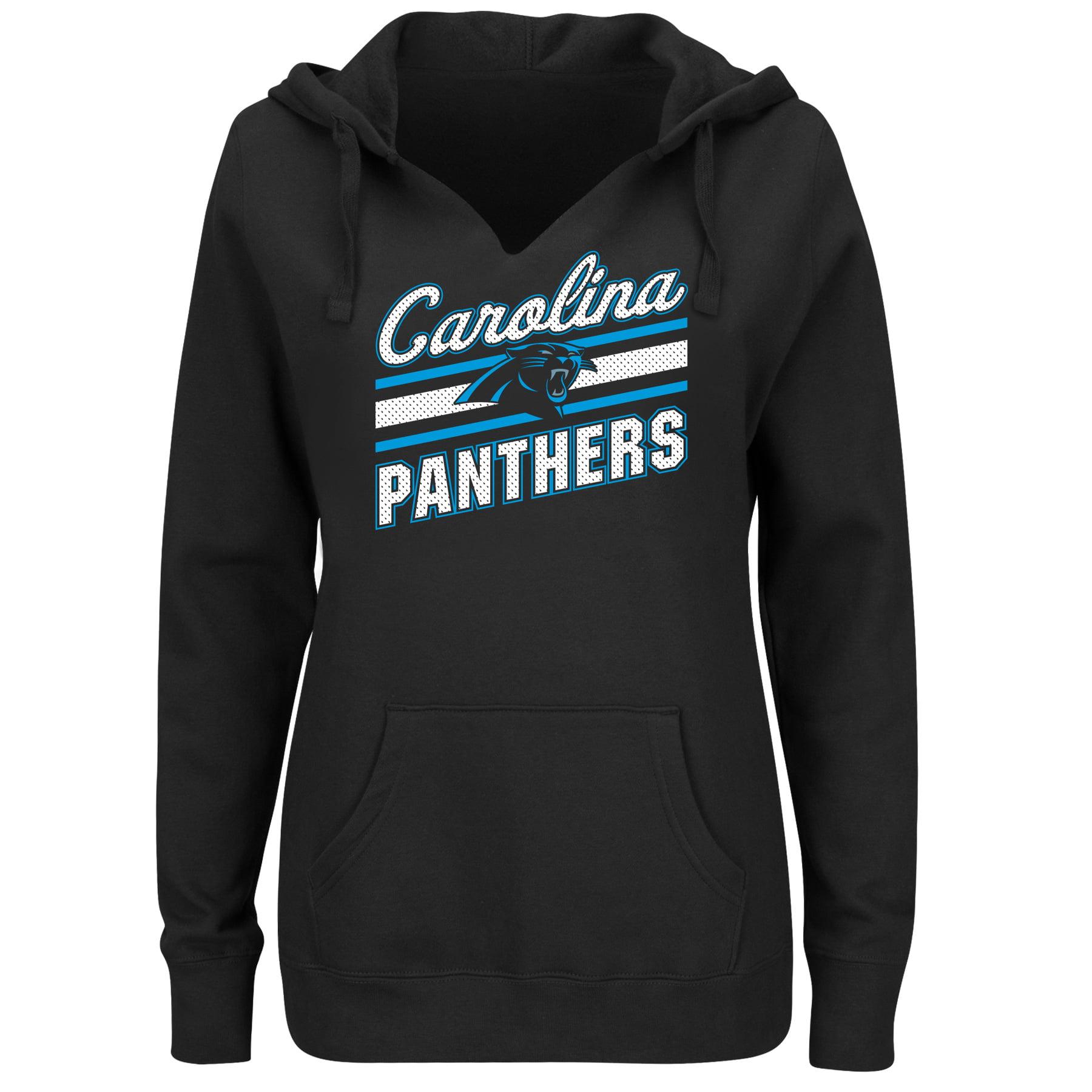 Hot Carolina Panthers Majestic Women's Plus Size Logo V Notch Pullover