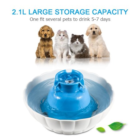 Pet Fountain Automatic Pet Water Dispenser,2.1L Water Fountain for Cat and Small Dog/Animals (Ceramic Pet Fountain)