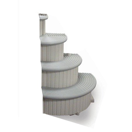 Confer CCXAG2 4-Step Above Ground Swimming Pool Entry Steps Curved Add-on, Gray