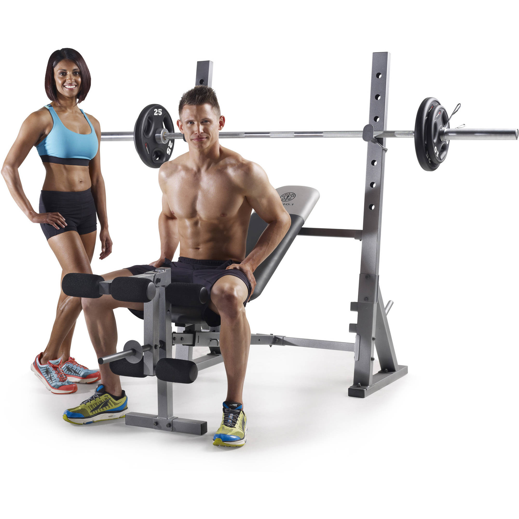 Gold 39 s gym xr 10 1 olympic weight bench by icon health and fitness inc Weight bench and weights