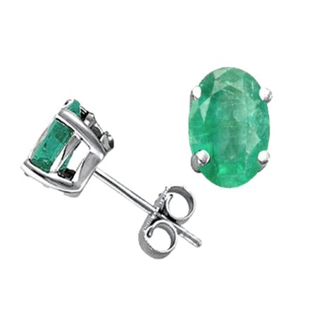 Tommaso Design Oval 7x5mm Genuine Emerald Earrings Studs In 14 Kt White Gold
