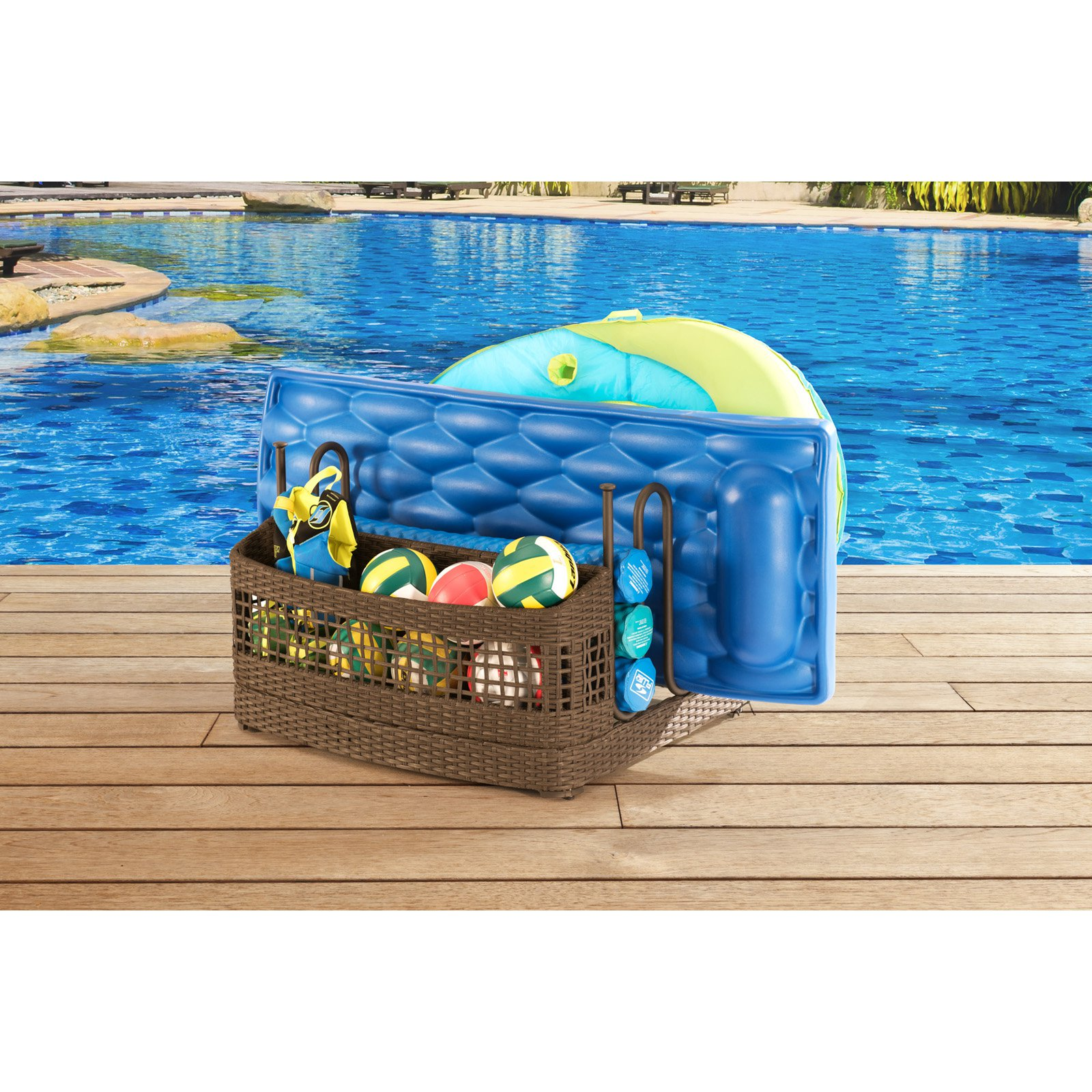 SunNest Sunjoy Rattan Pool Float Storage Stand by Overstock