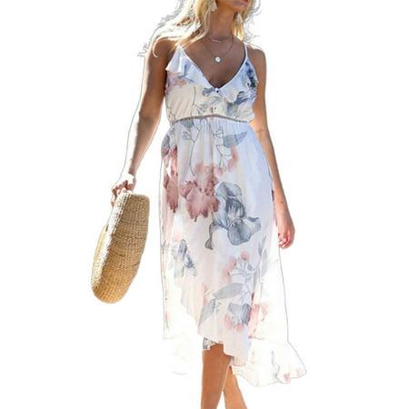 Womens Pregnant Boho Summer Beach Midi Dress Floral Strappy Maternity Sundress